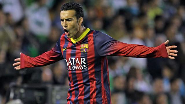 Pedro celebra un gol amb els braços oberts i cara de ràbia