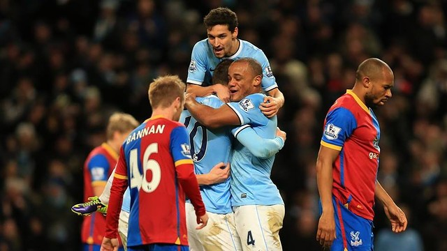 City's players celebrate the only goal of the match / PHOTO: Manchester City FC