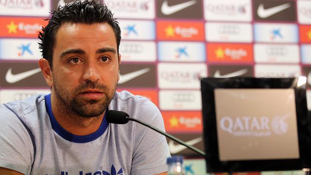 Xavi, en roda de premsa / FOTO ARXIU FCB