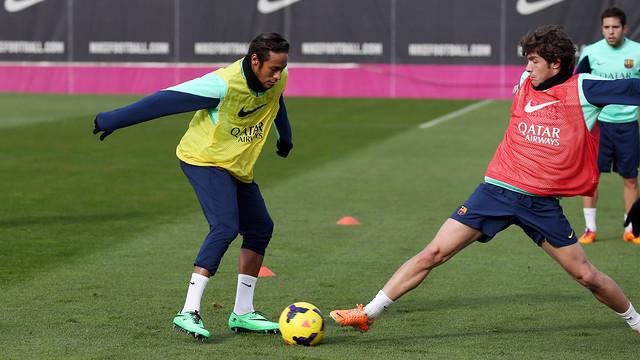 Neymar and Sergi Roberto at training/ PHOTO: MIGUEL RUIZ - FCB