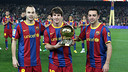 Iniesta, Messi and Xavi, top three finishers in the 2010 Ballon d'Or. PHOTO: MIGUEL RUIZ-FCB.