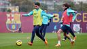 Fàbregas, durant l'entrenament. FOTO: MIGUEL RUIZ - FCB