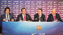 Freixa, Rosell, Faus and Moix at the press conference. PHOTO: GERMÁN PARGA-FCB.