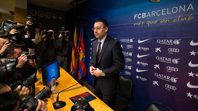 Josep Maria Bartomeu in the Ricard Maxenchs Press Room