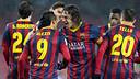 Puyol and Alexis celebrating a goal / PHOTO: MIGUEL RUIZ-FCB