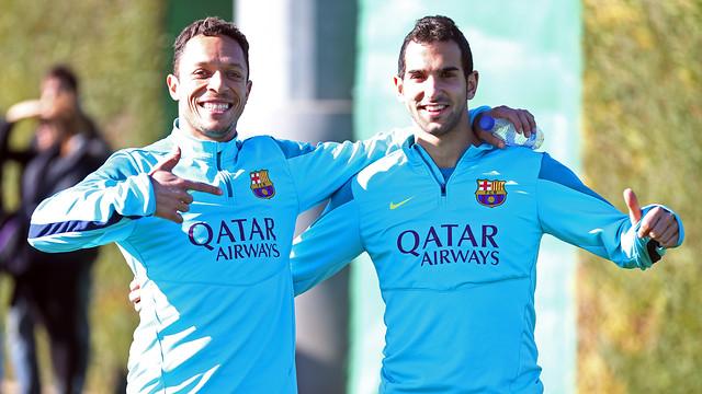 Adriano i Montoya, a l'entrenament.