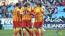 Els blaugranes celebren un gol / FOTO: ARXIU - FCB