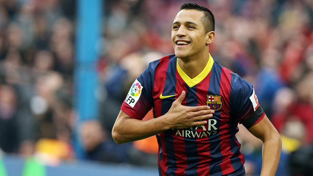 Alexis Sánchez in the league match against Valencia at the Camp Nou
