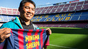 Sherpa, durant la seva visita al Camp Nou. FOTO: GERMÁN PARGA - FCB