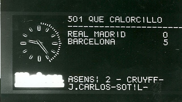 Scoreboard at the Santiago Bernabéu showing the 0-5 scoreline / PHOTO: ARXIU FCB