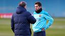 Martino i Jordi Alba, a l'entrenament d'aquest dijous. FOTO: MIGUEL RUIZ-FCB.