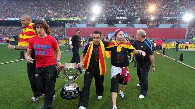 Puyol, en una celebració al Camp Nou. FOTO: Arxiu FCB
