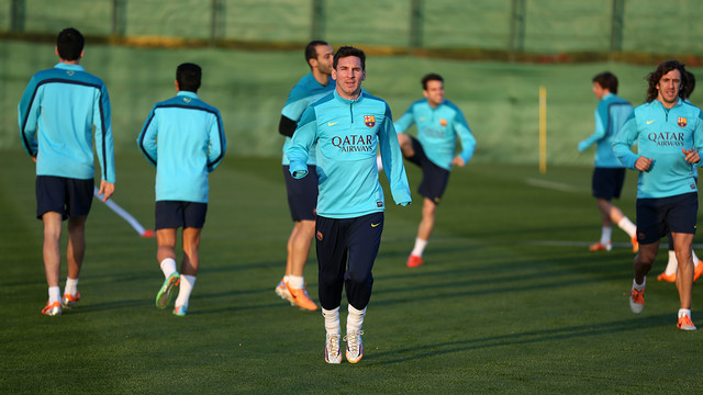 Leo Messi training at the Ciutat Esportiva