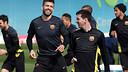 Piqué i Messi, durant l'entrenament / FOTO: MIGUEL RUIZ-FCB