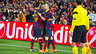 Messi, Alves and Iniesta celebrate a goal against City next to a corner flag at the Camp Nou