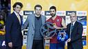 Navarro, homenatjat per l'Eurolliga. FOTO: GERMÁN PARGA-FCB.