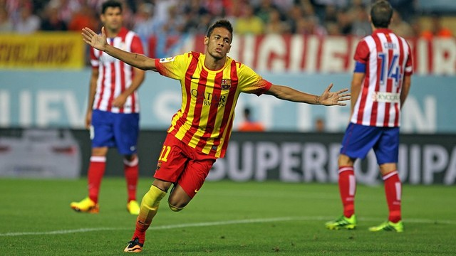 Neymar celebrates his goal at the Calderon