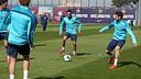 Xavi, durant l'entrenament / FOTO: MIGUEL RUIZ - FCB