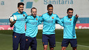 Bartra, Iniesta, Afellay and Xavi were among the players preparing for the derby this morning / PHOTO: MIGUEL RUIZ - FCB