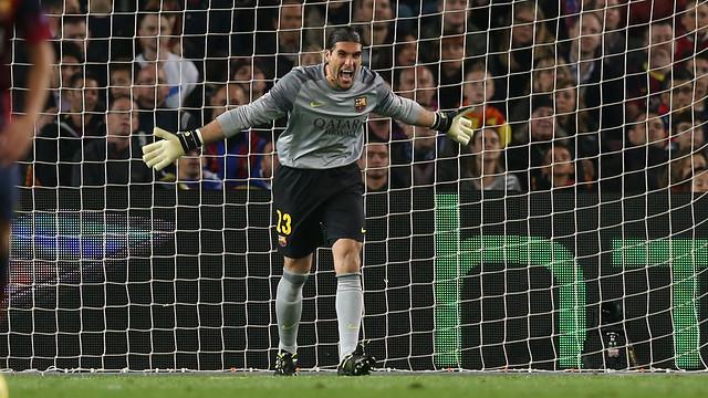 Pinto, durant el partit / FOTO: MIGUEL RUIZ-FCB