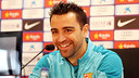 Xavi, at the press conference. PHOTO: MIGUEL RUIZ-FCB.