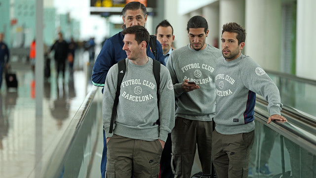 Messi, Pinto and Alba, on the trip to Madrid. PHOTO: MIGUEL RUIZ-FCB.