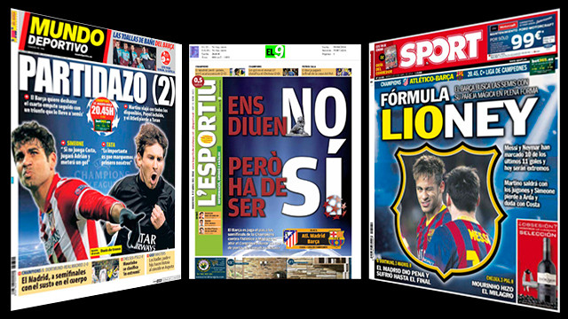 Catalan press: Mundo Deportivo, L'Esportiu and Sport