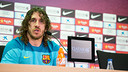Carles Puyol at today's press conference. PHOTO: MIGUEL RUIZ-FCB.