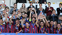 Les juniors, vainqueurs de la UEFA Youth League. PHOTO: MIGUEL RUIZ-FCB.
