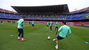 The players training in the Camp Nou ahead of the game against Athletic Cub / PHOTO: MIGUEL RUIZ – FCB