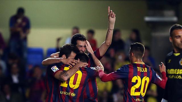 L'equip, celebrant el tercer gol a Vila-real.