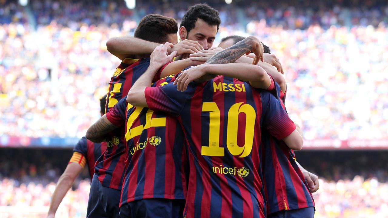 Barça celebrating a goal last season at Camp Nou v Getafe / MIGUEL RUIZ - FCB