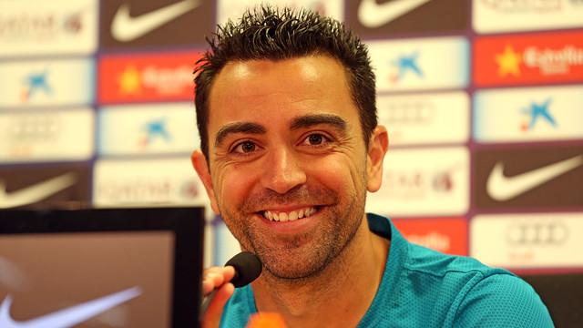 Xavi, durante la rueda de prensa