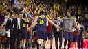 Papanikolaou was thrilled to beat Madrid at the Palau. PHOTO: V. SALGADO - FCB
