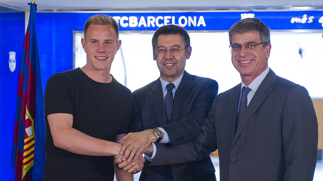Ter Stegen, Bartomeu and Mestre. PHOTO: MIGUEL RUIZ-FCB.