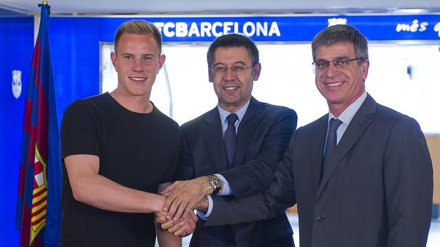 Ter Stegen, Bartomeu and Mestre. PHOTO: MIGUEL RUIZ-FCB.
