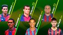 Fotomuntatge amb els sis brasilers que han jugat un Mundial amb el Barça