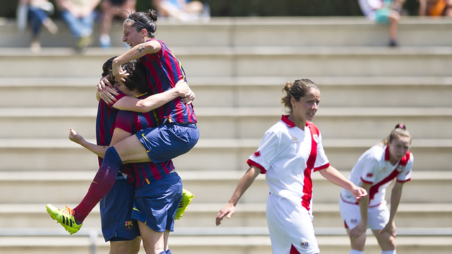 The ladies celebrate a goal