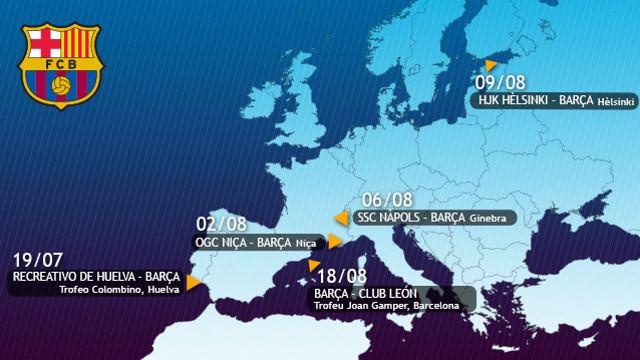 Map of Europe showing the cities where Barça will play preseason friendlies