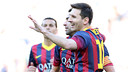 Messi celebrating a goal with teammates/ PHOTO: ARXIU FCB