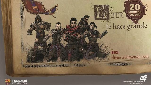 Imatge gràfca de la campanya amb uns dibuixos de diversos jugadors del primer equip vestits de guerrers.
