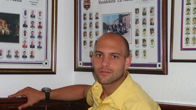 Gabri sat in the offices at La Masia