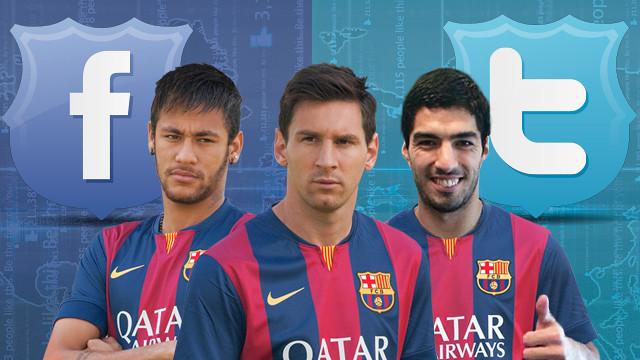 Uma montagem de Neymar, Messi e Luis Suárez.