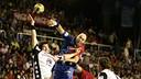 Karabatic for THW Kiel, and Lozano for Barça / PHOTO: FCB ARCHIVE