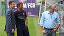 Bartomeu and Luis Enrique spoke before today's training session / PHOTO: MIGUEL RUIZ - FCB