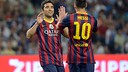 Leo Messi and Deco celebrate a goal scored by the latter