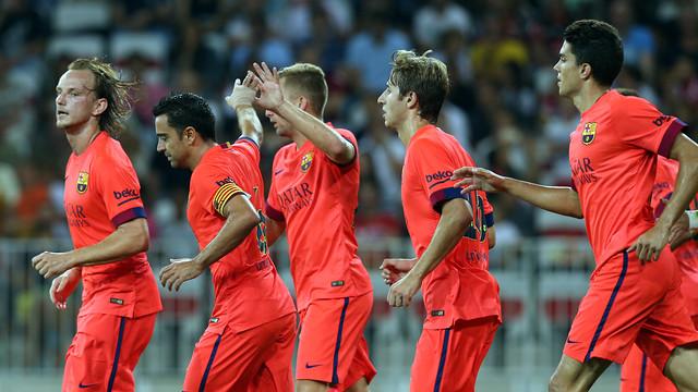 Cuplikan Gol Barcelona vs Nice, Xavi Hernandez Selamatkan Muka Barca