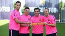 D'esquerre a dreta, Busquets, Messi, Xavi i Iniesta, els quatre capitans / FOTO: MIGUEL RUIZ-FCB