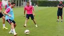 Sandro, durante el entrenamiento con el Barça B / FOTO: MIGUEL RUIZ