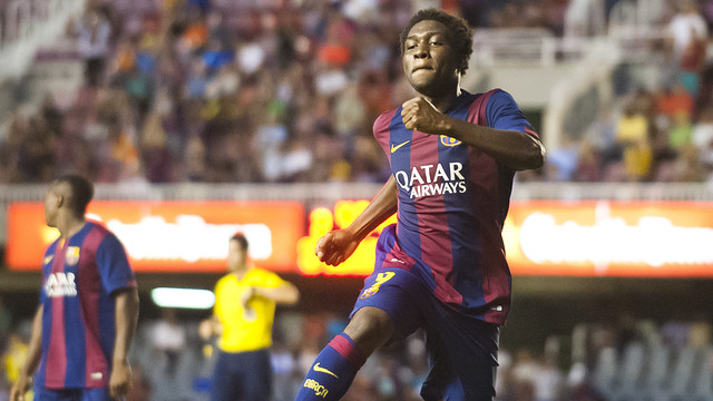 Dongou celebra un gol anotado ante el Sabadell